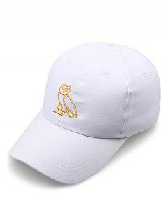 Night Owl Embroidery Sport Baseball Cap - White
