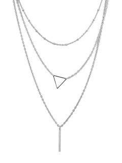 Collier Triple Couche De Chaîne En Métal - Argent