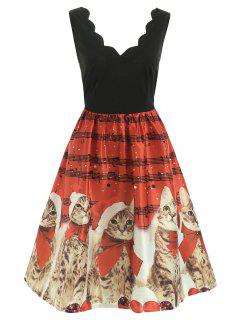 Christmas Musical Notes And Cats Flare Dress - Red 2xl