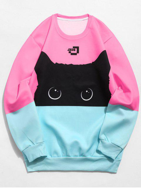 best Color Block Cat Print Sweatshirt - PINK XL Mobile