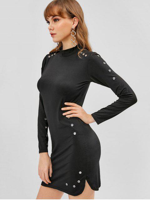 Mini Robe Moulante à œillet - Noir M Mobile