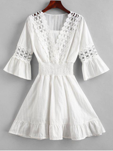 outfit Crochet Panel Shirred Waist Beach Dress - WHITE S Mobile