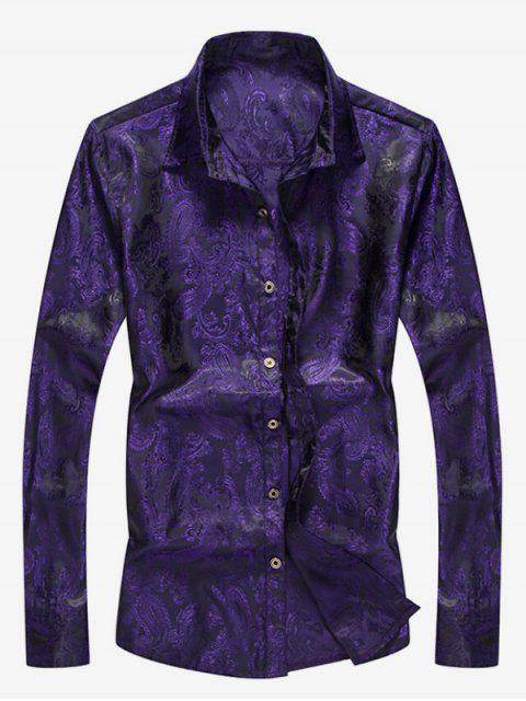 shop Button Up Totem Print Shirt - PURPLE IRIS M Mobile