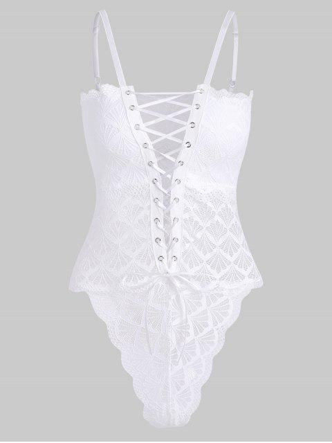 outfit Lace Up High Leg Cami Teddy - WHITE S Mobile