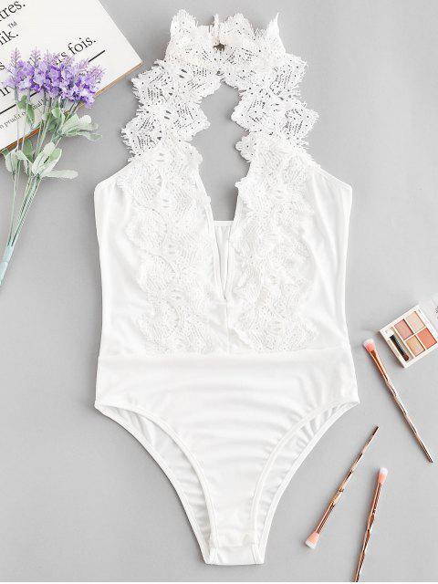 shops Choker Backless Cut Out Crochet Teddy - WHITE L Mobile