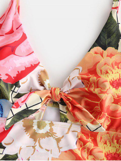 ZAFUL Клетчатый цветочный принт С вырезом Купальник - Многоцветный-A M Mobile