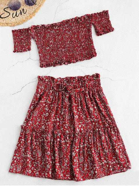 chic ZAFUL Smocked Floral Print Top and Skirt Set - RED WINE S Mobile