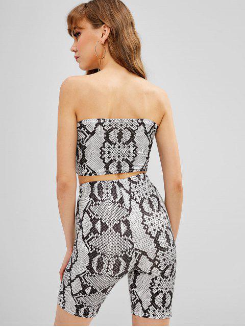 womens Snake Print Bandeau Top And Biker Shorts Set - BLACK L Mobile