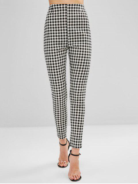 womens ZAFUL High Waist Plaid Fitted Pants - BLACK L Mobile