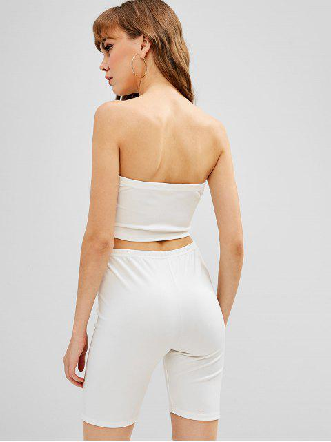best ZAFUL Bandeau Top And Biker Shorts Set - WHITE S Mobile