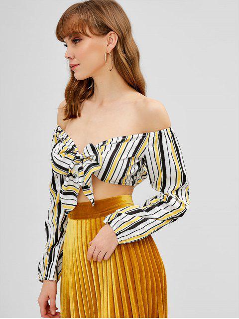 ladies Striped Tie Front Off Shoulder Crop Top - YELLOW S Mobile