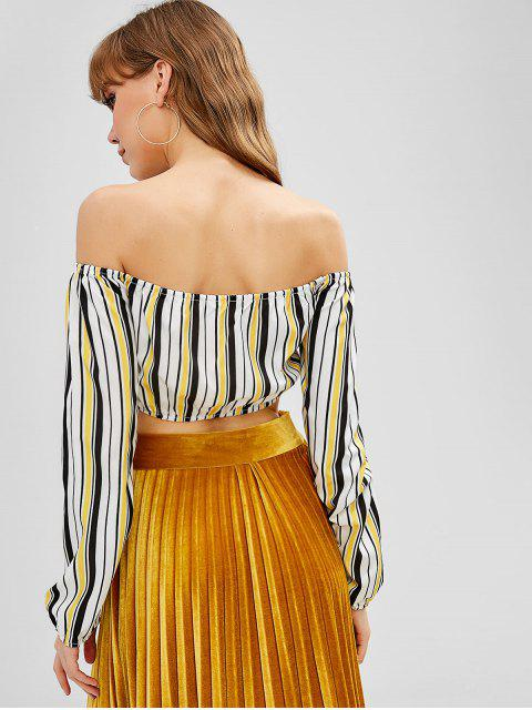 new Striped Tie Front Off Shoulder Crop Top - YELLOW XL Mobile