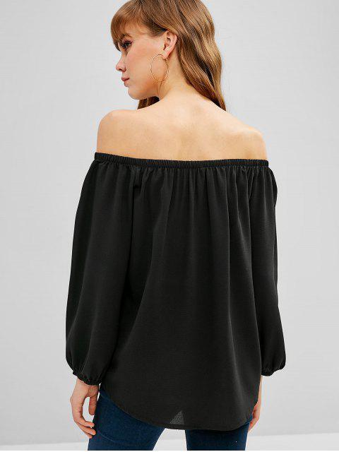 shop Off Shoulder Floral Embroidered Blouse - BLACK S Mobile