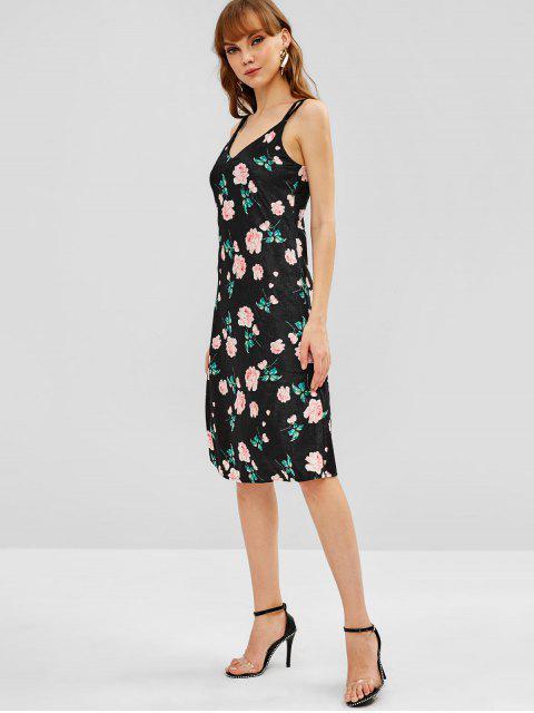 Vestido de terciopelo floral con doble correa - Negro M Mobile
