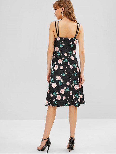 Vestido de terciopelo floral con doble correa - Negro XL Mobile