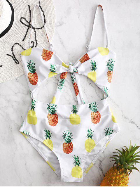 ZAFUL Piña Scrunch Butt Cut Out traje de baño - Blanco L Mobile