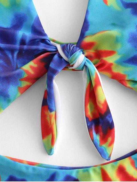 buy ZAFUL Knot Tie Dye Cut Out Swimsuit - MULTI-A M Mobile