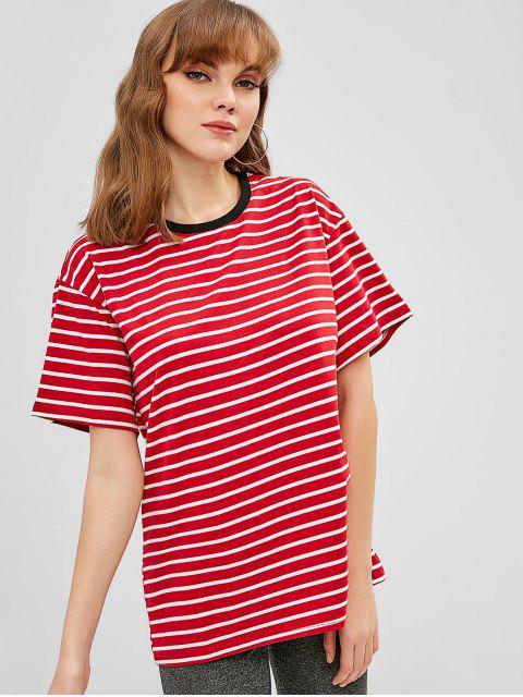 Cuello Redondo Rayas Longline Tee - Rojo Talla única Mobile