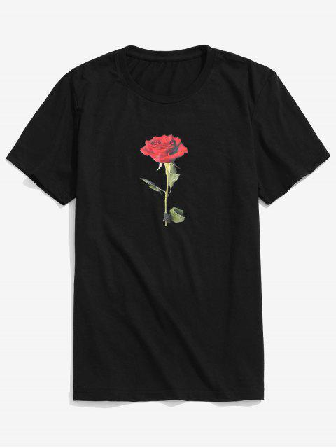 Top de día de San Valentín de manga corta rosa - Negro S Mobile