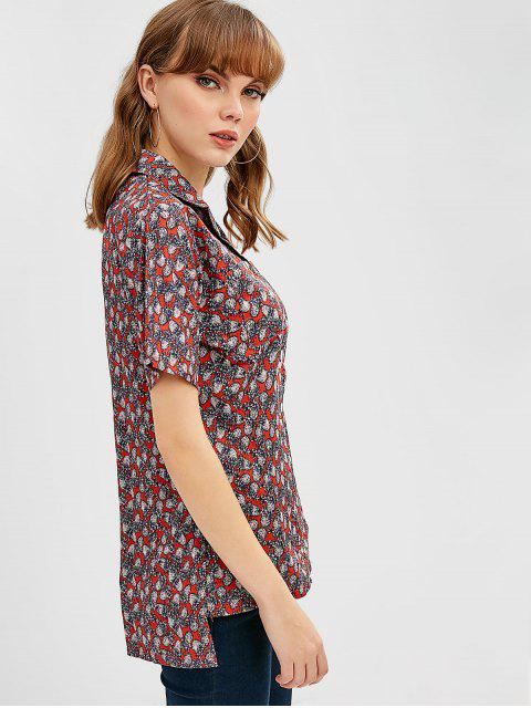 affordable Pineapple Printed Chest Pockets Bowling Shirt - MULTI ONE SIZE Mobile