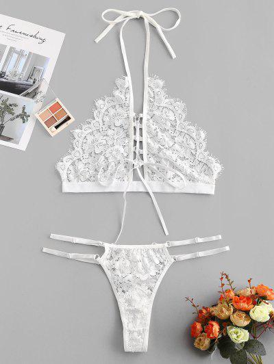 35b2ac1fc102ca Lace Up Halter Lingerie Set - White S