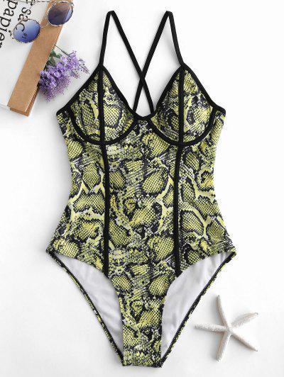 zaful ZAFUL Snakeskin Print Crisscross Underwire Swimsuit