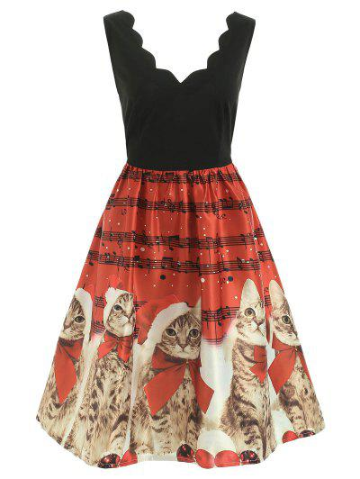 Christmas Musical Notes And Cats Flare Dress - Red M