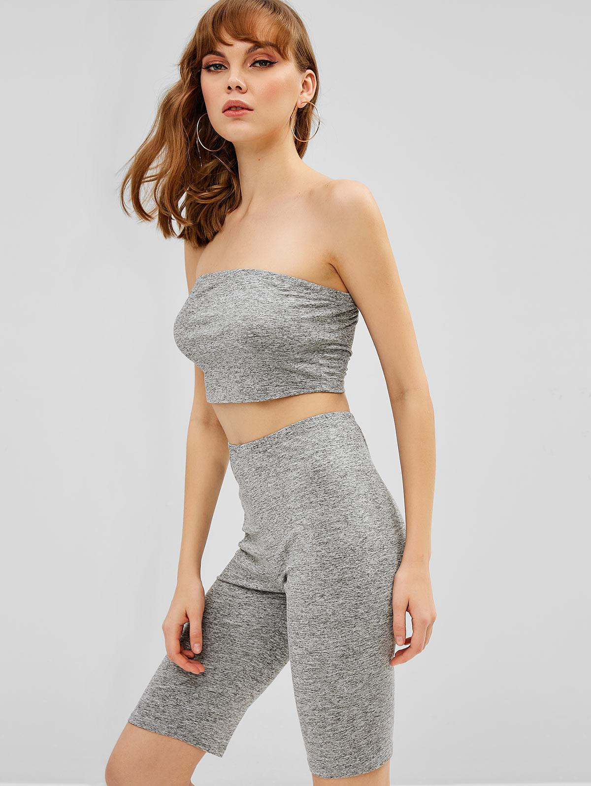 ZAFUL Plain Bandeau Top And Biker Shorts Set, Gray
