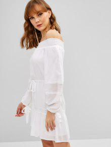 dec1a561b503e 24% OFF   NEW  2019 Long Sleeve Off Shoulder Belted Dress In WHITE ...