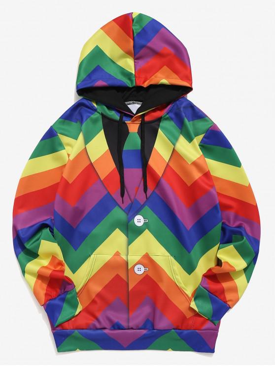 Falda de manga larga con estampado geométrico y capucha - Multicolor M