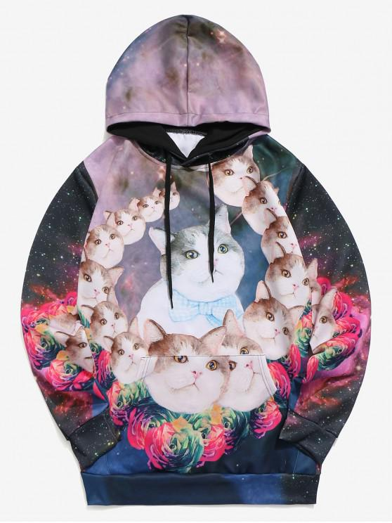 latest Galaxy Cats Flowers Print Kangaroo Pocket Hoodie - MULTI 2XL
