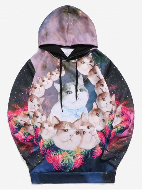 shops Galaxy Cats Flowers Print Kangaroo Pocket Hoodie - MULTI XL