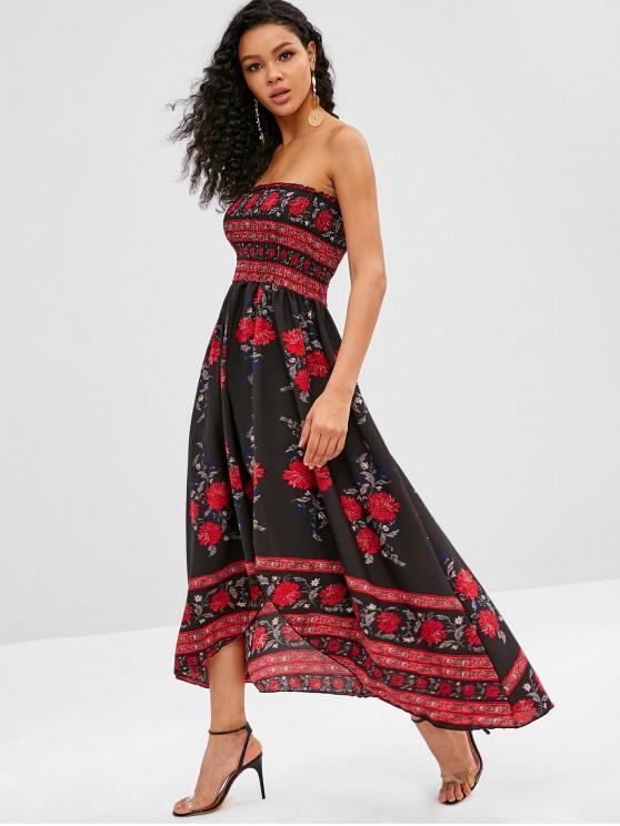 affordable High Low Split Floral Smocked Dress - MULTI-A L