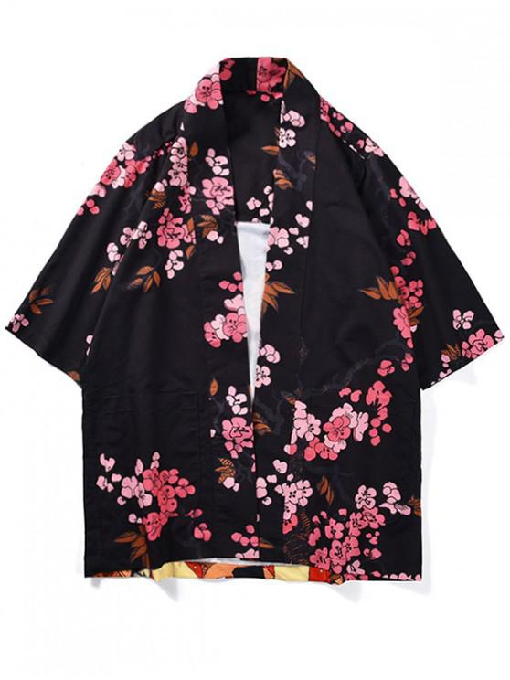 fashion Japanese Women Flowers Print Kimono Cardigan - BLACK 2XL