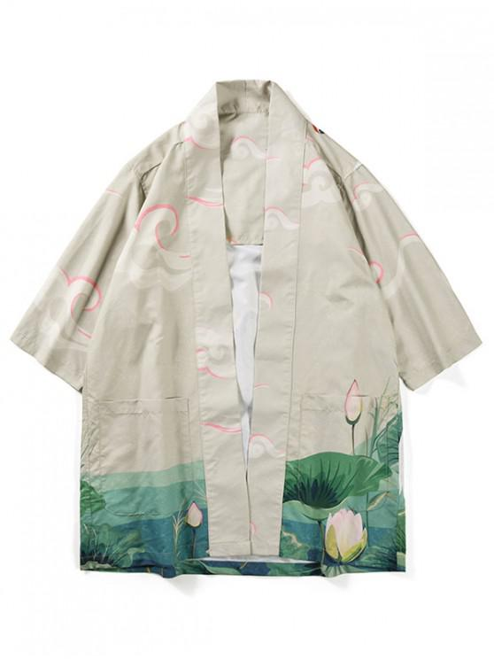 womens Crane Bird Lotus Print Kimono Cardigan - BEIGE XL