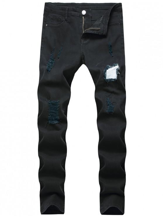 affordable Long Casual Patchworks Ripped Denim Pants - BLACK 32