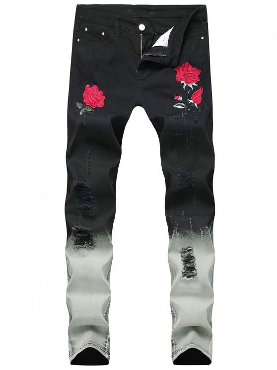 hot Embroidery Flowers Ombre Print Ripped Jeans - BLACK 40