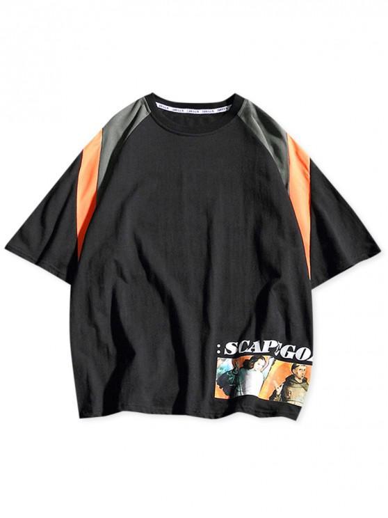 Letters Characters Print Color Block Raglan Sleeves T-shirt