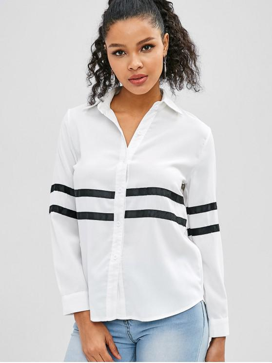 womens Button Up High Low Striped Shirt - WHITE L
