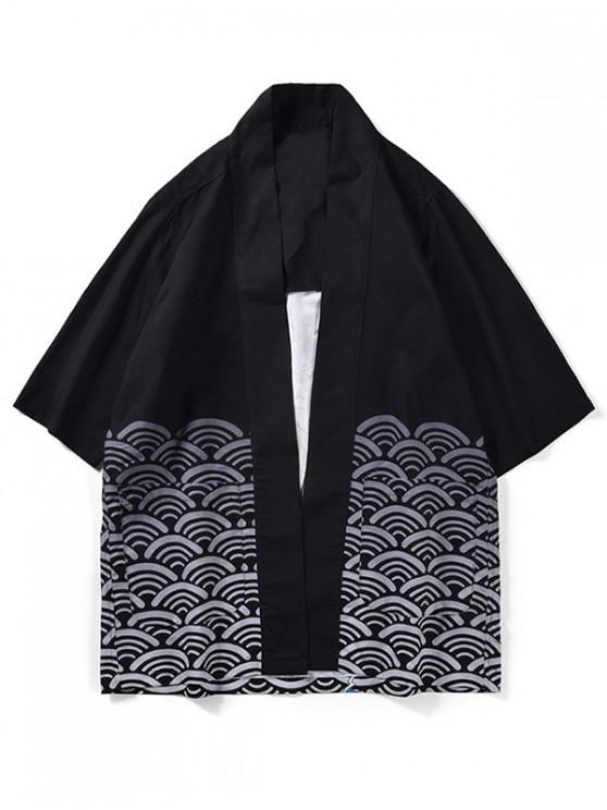 fancy Wave Pattern Kimono Cardigan - BLACK M