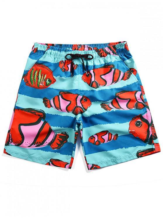 women Clownfish Print Board Shorts - DAY SKY BLUE 3XL