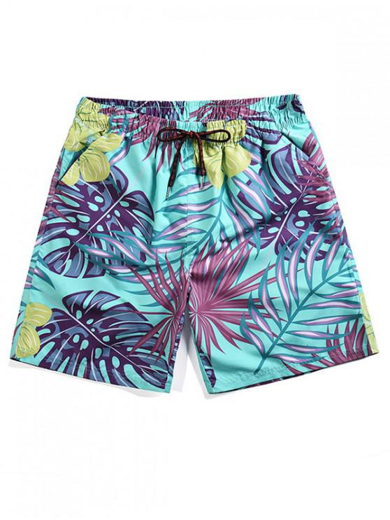 ladies Tropical Leaves Print Board Shorts - MEDIUM TURQUOISE L