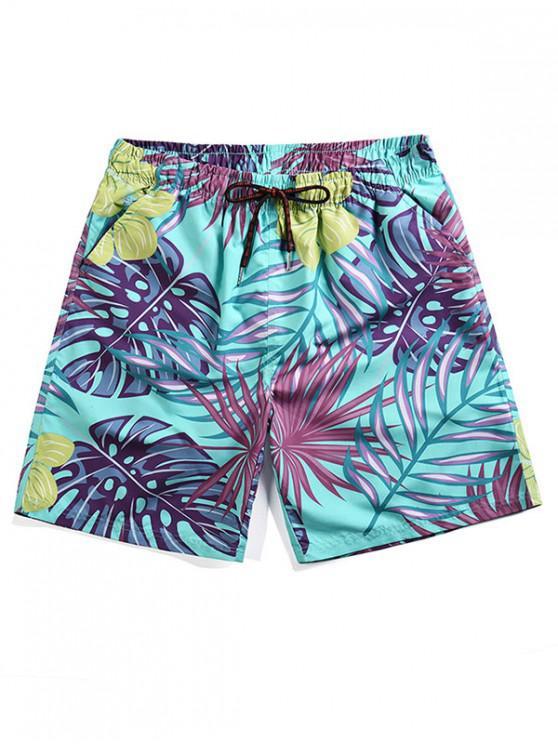 Pantalones Cortos con Estampado de Hojas Tropicales - Turquesa Mediana XL