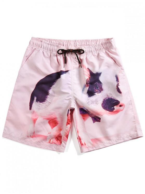 a4fa015ce2312 23% OFF] 2019 Pig Print Beach Shorts In PIG PINK | ZAFUL