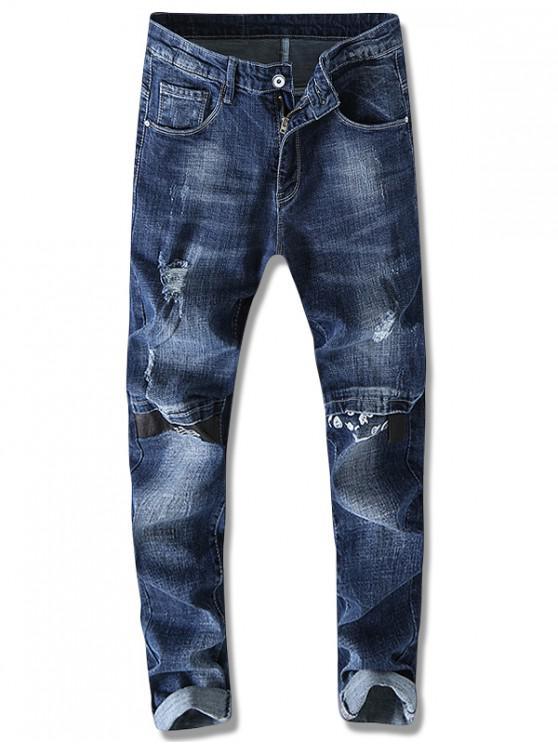 Distressed Brief gedruckt Cuffed Jeans - Blau 36