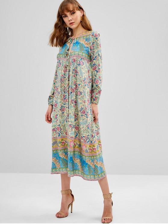 hot Floral Print Tie Front Midi Smock Dress - MULTI S