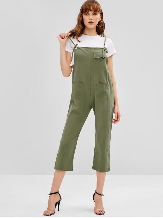fashion Pockets Tie Straps Overalls - ARMY GREEN ONE SIZE