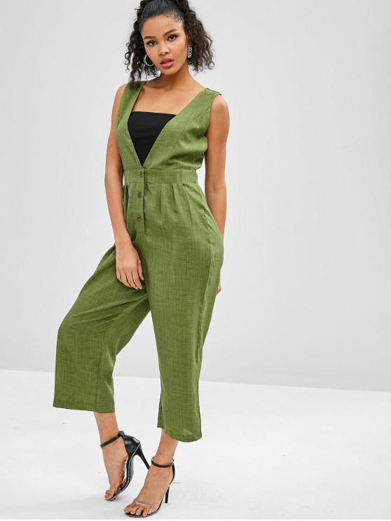 affordable Wide Leg Sleeveless Plunge Jumpsuit - FERN GREEN S