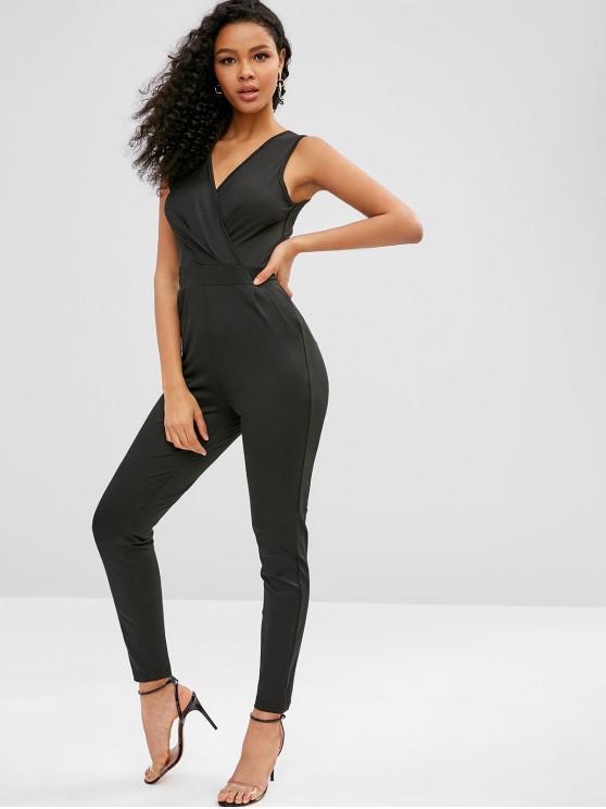 women's Sleeveless V Neck Pocket Jumpsuit - BLACK L