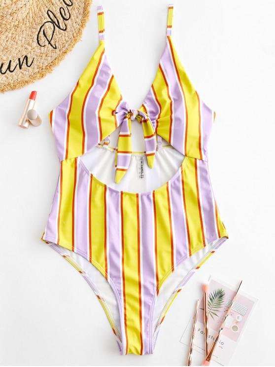 women's ZAFUL Tied Cut Out Striped Swimsuit - MAUVE L